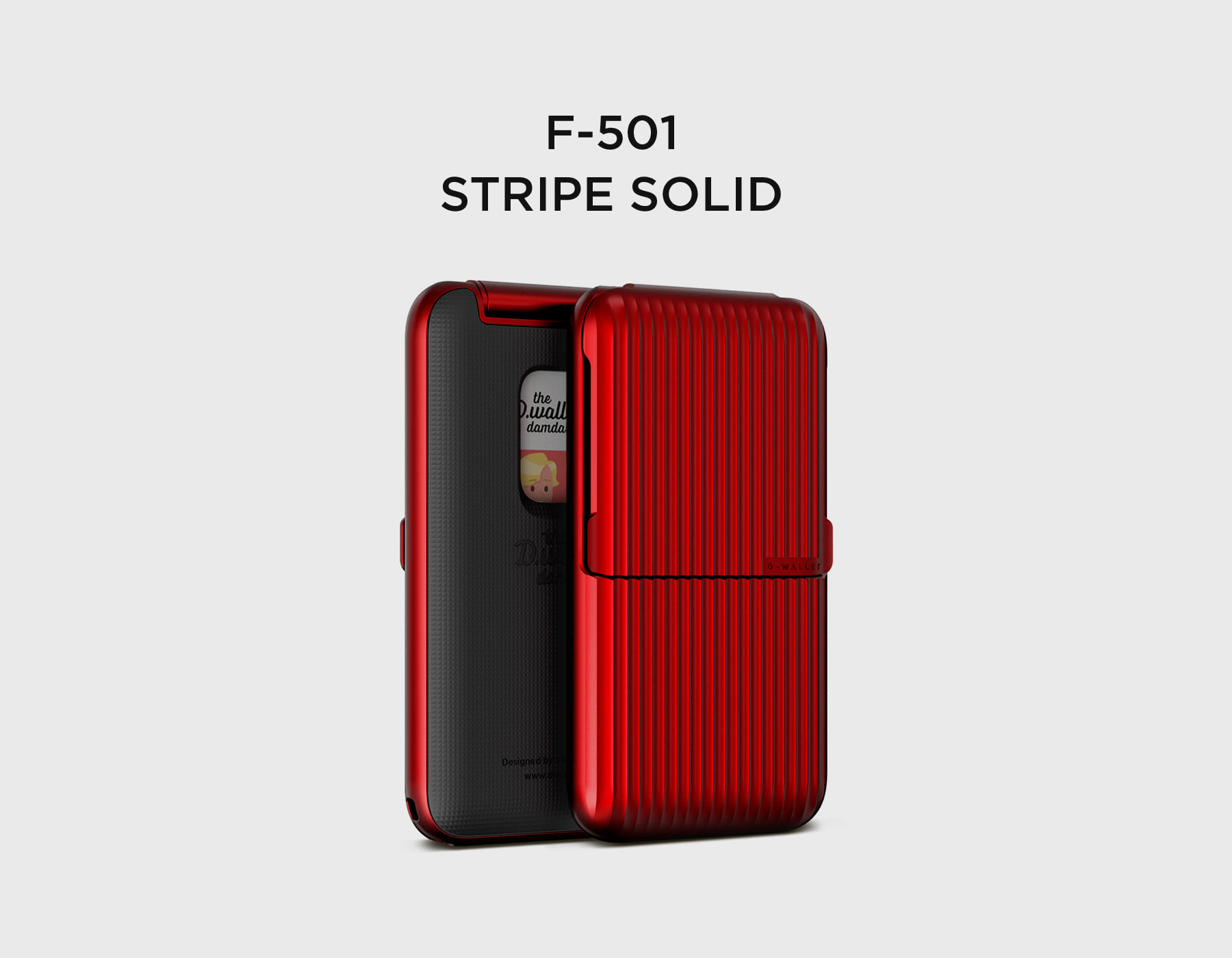 D.wallet Damda Series F-501 Stripe Deep Red
